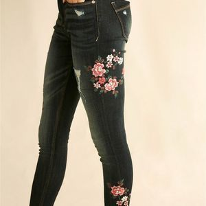 EXPRESS Floral Embroidered Jegging Skinny Jeans